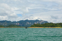 Beautiful mountains lake and natural attractions in Ratchaprapha Dam at Khao Sok National Park. Thailand Stock Images