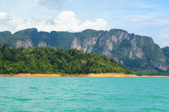 Beautiful mountains lake and natural attractions in Ratchaprapha Dam at Khao Sok National Park. Thailand Royalty Free Stock Image