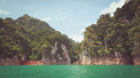 Beautiful mountains lake and natural attractions in Ratchaprapha Dam at Khao Sok National Park Royalty Free Stock Photos