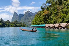Beautiful mountains lake river sky and natural attractions in Ratchaprapha Dam at Khao Sok National Park. Surat Thani Province, Thailand Royalty Free Stock Photo