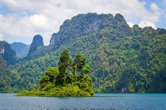 Beautiful mountains lake river sky and natural attractions in Ratchaprapha Dam at Khao Sok National Park, Surat Thani Province, Th Stock Photography