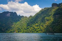 Beautiful mountains lake river sky and natural attractions in Ratchaprapha Dam at Khao Sok National Park, Surat Thani Province, Th Stock Images