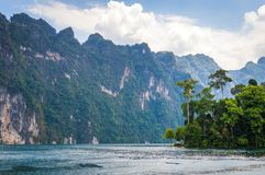 Beautiful mountains lake river sky and natural attractions in Ratchaprapha Dam at Khao Sok National Park, Surat Thani Province, Th Stock Photos