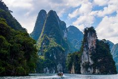 Beautiful mountains lake river sky and natural attractions in Ratchaprapha Dam at Khao Sok National Park, Surat Thani Province, Th Royalty Free Stock Photos