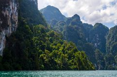 Beautiful mountains lake river sky and natural attractions in Ratchaprapha Dam at Khao Sok National Park, Surat Thani Province, Th Stock Photo