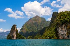 Beautiful mountains lake river sky and natural attractions in Ratchaprapha Dam at Khao Sok National Park, Surat Thani Province, Th Stock Image