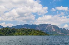 Beautiful mountains lake river sky and natural attractions in Ratchaprapha Dam at Khao Sok National Park, Surat Thani Province, Th Royalty Free Stock Photography