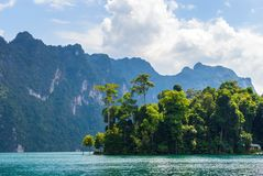 Beautiful mountains lake river sky and natural attractions in Ratchaprapha Dam at Khao Sok National Park, Surat Thani Province, Th Royalty Free Stock Photo