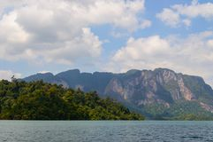 Beautiful mountains lake river sky and natural attractions in Ratchaprapha Dam at Khao Sok National Park, Surat Thani Province, Th Royalty Free Stock Image