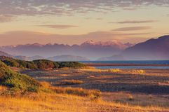 Carretera. Beautiful mountains landscape along gravel road Carretera Austral in southern Patagonia, Chile stock photography