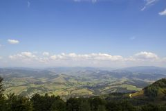 Beautiful mountains landscape in Carpathian. Wide panorama of green mountain hills. Carpathian mountains in summer royalty free stock image