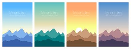 Beautiful mountains landscape in different time of day. Set of stylish outdoor card templates royalty free illustration