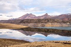 The beautiful mountains landscape with lake and reflection. Royalty Free Stock Photo