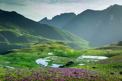 Beautiful mountains landscape at sunset Royalty Free Stock Photography