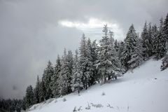 Bad winter weather in the moutains Stock Photos