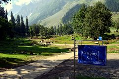 Beautiful mountains and meadows in Sonamarg, Kashmir, India. Camping site near beautiful mountains and glacier landscape at Sonamarg in Kashmir, India stock photography