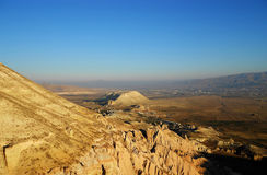 Beautiful mountains and nature view with blue sky. Beautiful mountains and nature view in central anatolia Stock Photo