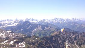 Beautiful mountains and nature view with snow. Top mountain, Parachuting, Alps Stock Image