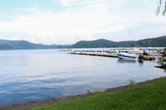 Beautiful mountains and  Nojiri  Lake in summer, the town of Shi Royalty Free Stock Photo