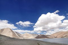 Beautiful mountains and Pangong Lake Royalty Free Stock Photo