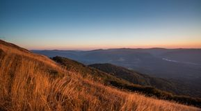 Sunset in Bieszczady Mountains, Poland Royalty Free Stock Images