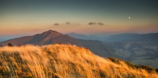 Sunset in Bieszczady Mountains, Poland Stock Photography
