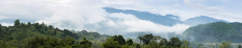 Beautiful mountains Range with clouds and fogs landscape on morn. Beautiful mountains Range landscape with clouds and fogs on morning of Northern, Thailand Royalty Free Stock Image
