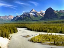 Canada, Banff National Park, Mountains River Scene. Beautiful mountains and river in Canadian Rockies scene. Banff National Park, landscape. Alberta, Canada royalty free stock photo