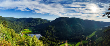 Beautiful mountains with small lake panoramic view Royalty Free Stock Photos