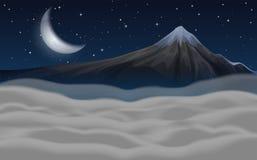 Beautiful moutain scene at night stock photo