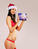 Beautiful mrs claus in red bikini Royalty Free Stock Photos