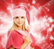 Beautiful mrs. Santa. Over abstract background Stock Photos