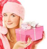 Beautiful mrs. Santa. With a gift box Royalty Free Stock Images