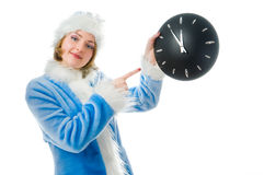 Beautiful mrs. Santa with clock Stock Photography