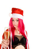 Beautiful Mrs. Santa With Champagne Glass Royalty Free Stock Photos