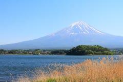 Beautiful Mt.Fuji mountain with clear blue sky from Lake Yamanakako Stock Photos