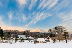 Beautiful Mt. Fuji from a OshinoHakkai  in Winter 2013 Royalty Free Stock Images