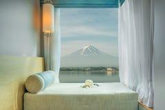 Beautiful Mt.Fuji view at window resort near Kawaguchiko lake Royalty Free Stock Images