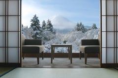 Beautiful Mt.Fuji view at window resort near Kawaguchiko lake at Stock Image