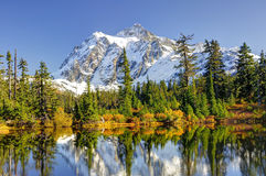 Beautiful Mt. Shuksan Reflecting on Picture Lake Royalty Free Stock Photography