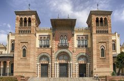 Beautiful Mudejar Pavilion of the María Luisa park in the city of Seville. Museum of Popular Arts and Traditions of Seville in the maria luisa park Stock Photos