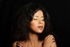 Beautiful mulatto woman with tiger make up. Royalty Free Stock Photo