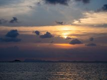 Beautiful, multi-colored clouds at sunset. Ko Phangan.Thailand stock photography
