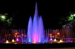 Beautiful multi-colored musical fountain in Kharkov, Ukraine.  stock photo