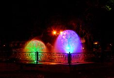 Beautiful multi-colored musical fountain in Kharkov, Ukraine. Beautiful multi-colored fountain in Kharkov, Ukraine royalty free stock images