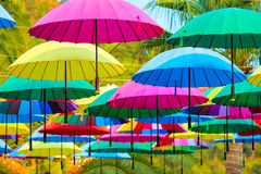 Beautiful multi-colored umbrellas Royalty Free Stock Images