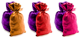 Beautiful multi-coloured sacks Royalty Free Stock Images