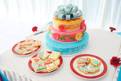 Beautiful multi-tiered wedding cake royalty free stock photo