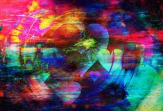 Beautiful multicolor collage of hearts flying in space. Stock Images