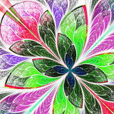 Beautiful multicolor fractal flower in stained glass window styl Stock Photo